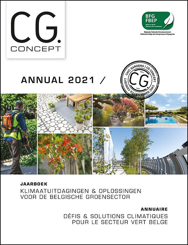 Annual 2021 CG Concept, the professional magazine about green spaces, urbanism and exterior design. Discover the first annual for the Belgian horticultural sector. cg concept magazine professionals gardeners climate change